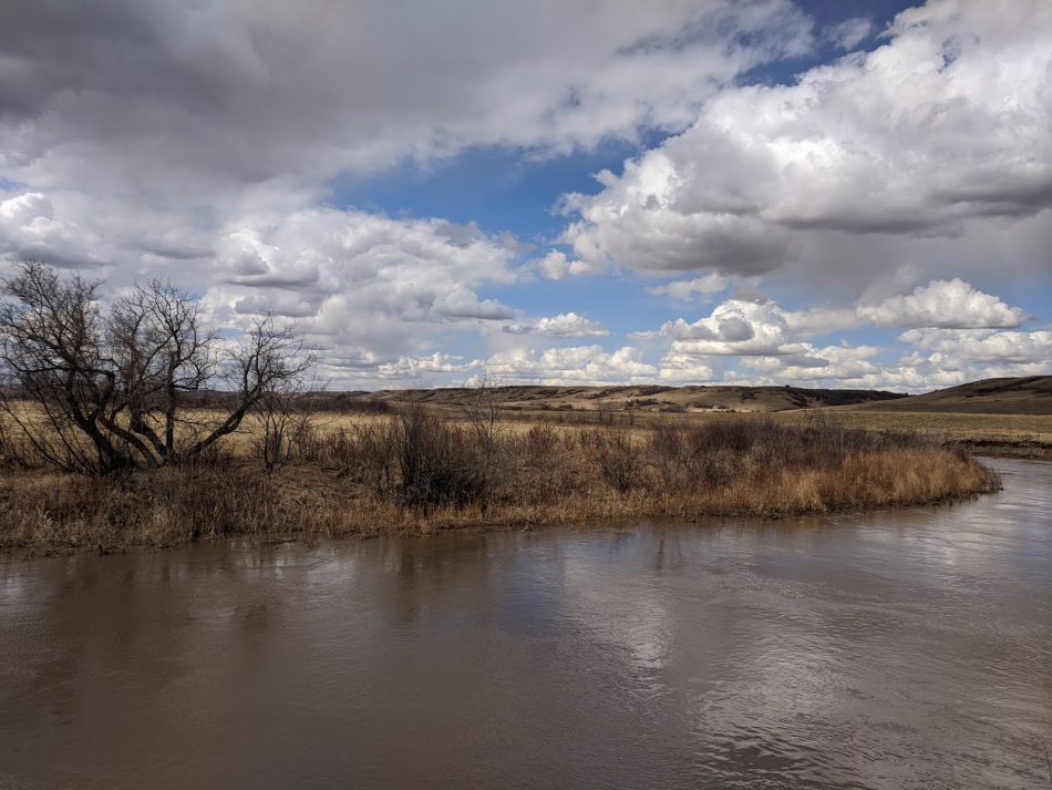 Battle River with big open skies above